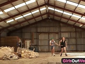Girls Out West - Hairy lesbian cunts finger fucked
