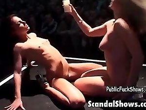 Busty blonde babe gets horny